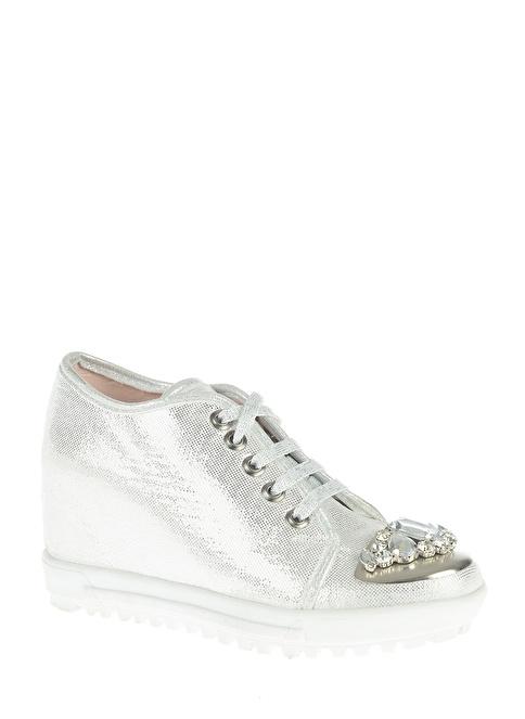 Bambi Dolgu Topuk Ayakkabı Gümüş
